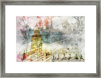 City Art Big Ben And Westminster Bridge II Framed Print by Melanie Viola