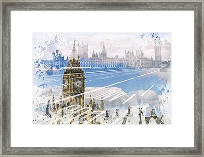 City Art Big Ben And Westminster Bridge Framed Print by Melanie Viola
