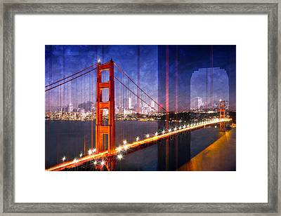 City Art Golden Gate Bridge Composing Framed Print by Melanie Viola