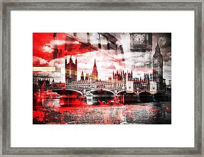 City-art London Red Bus Composing Framed Print by Melanie Viola