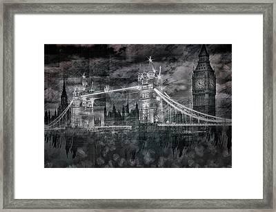 City-art London Tower Bridge And Big Ben Composing Bw  Framed Print