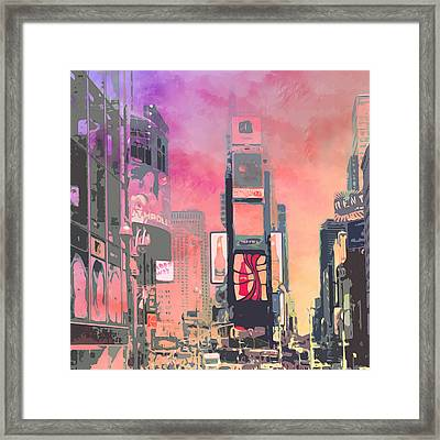 City-art Ny Times Square Framed Print by Melanie Viola