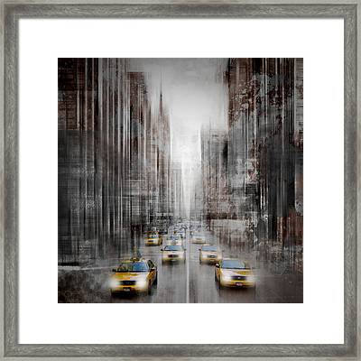 City-art Nyc 5th Avenue Traffic Framed Print
