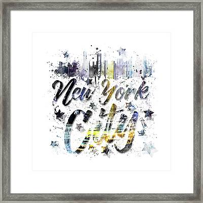 City Art Nyc Collage - Typography Framed Print by Melanie Viola