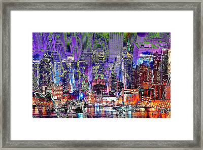 City Art Syncopation Cityscape Framed Print by Mary Clanahan