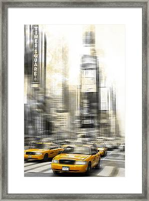 City-art Times Square Framed Print by Melanie Viola