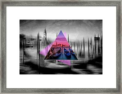 City Art Venice Canal Grande And Gondolas At Sunset - Geometric Collage II Framed Print