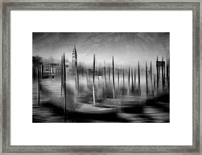 City-art Venice Grand Canal And St Mark's Campanile Monochrome Framed Print by Melanie Viola