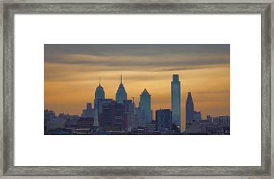 City At Dusk Framed Print by Thomas  MacPherson Jr