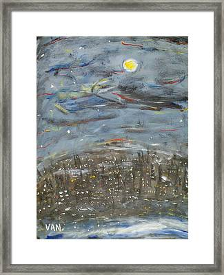 City At Night Framed Print by Van Winslow