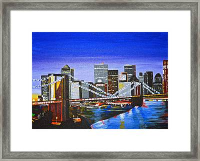 City At Twilight Framed Print by Donna Blossom