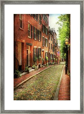 Framed Print featuring the photograph City - Boston Ma - Acorn Street by Mike Savad