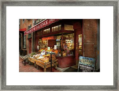 City - Boston Ma - Fresh Meats And Fruit Framed Print by Mike Savad