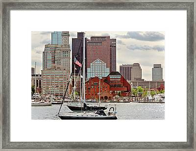 City - Boston Ma - Harbor Walk Skyline Framed Print