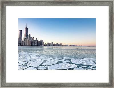 City By The Frozen Lake Framed Print