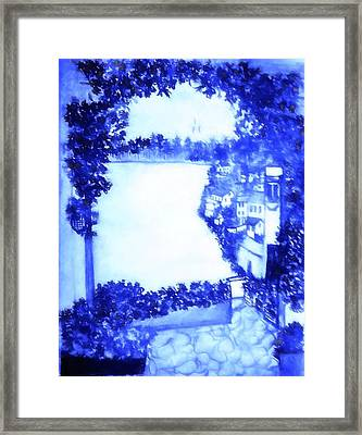 City By The Sea In Blue Painting Framed Print by Debra Lynch