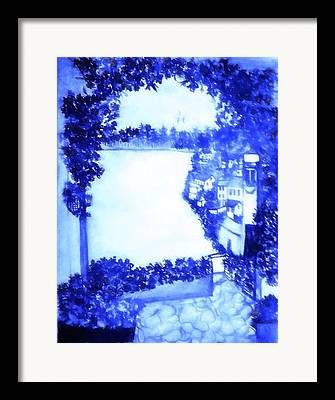 Village By The Sea Mixed Media Framed Prints