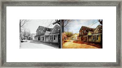 City - California - The Town Of Downieville 1933- Side By Side Framed Print by Mike Savad