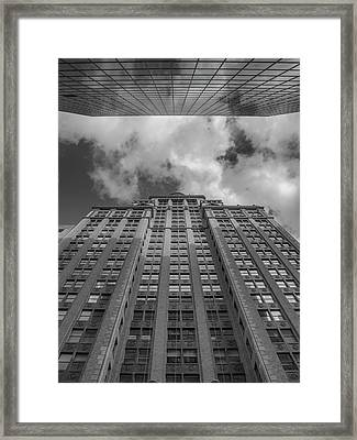 City Canyon Black And White Framed Print