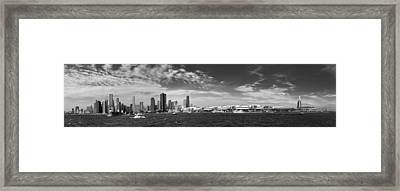 City - Chicago Il -  Chicago Skyline And The Navy Pier - Bw Framed Print