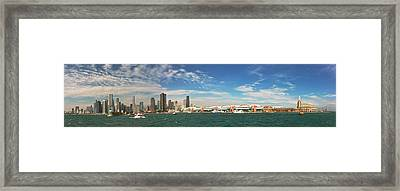 City - Chicago Il -  Chicago Skyline And The Navy Pier Framed Print