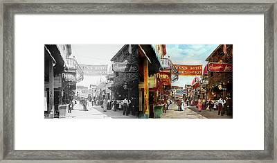 Framed Print featuring the photograph City - Coney Island Ny - Bowery Beer 1903 - Side By Side by Mike Savad