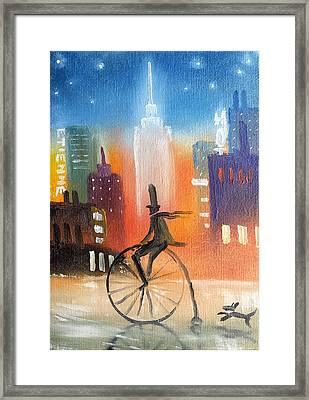 City Cycle In The Wet Streets Framed Print