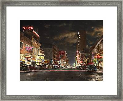 City - Dallas Tx - Elm Street At Night 1941 Framed Print by Mike Savad
