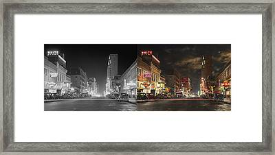 City - Dallas Tx - Elm Street At Night 1941 - Side By Side Framed Print by Mike Savad