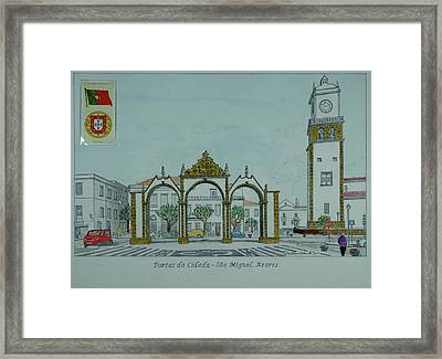 City Gates, San Miguel,azores Framed Print by William Goldsmith