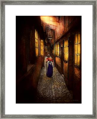 City - Germany - Alley - A Long Hard Life 1904 Framed Print by Mike Savad