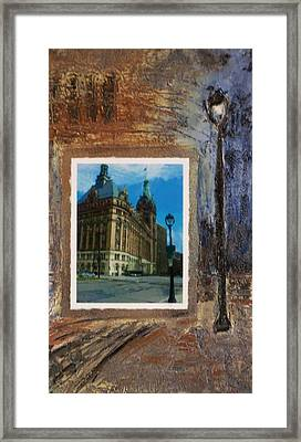 City Hall And Street Lamp Framed Print by Anita Burgermeister