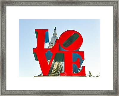 City Hall Behind The Love Statue Framed Print by Bill Cannon