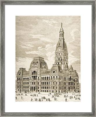 City Hall, Chicago, Illinois In 1870s Framed Print
