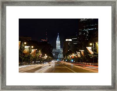 City Hall From The Parkway Framed Print by Jennifer Ancker