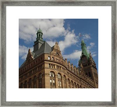 City Hall Roof And Tower Framed Print by Anita Burgermeister