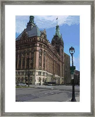 City Hall With Street Lamp Framed Print