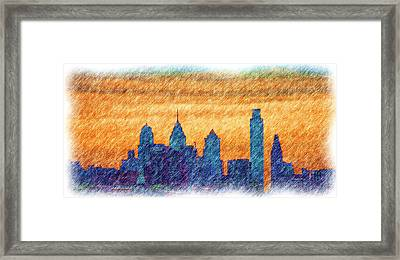 City In Pencil Framed Print by Thomas  MacPherson Jr