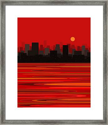 City In Red - Moon Over Manhattan Framed Print