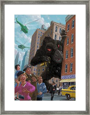 City Invasion Furry Monster Framed Print by Martin Davey