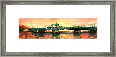 City Island Bridge Fall Framed Print by Marguerite Chadwick-Juner