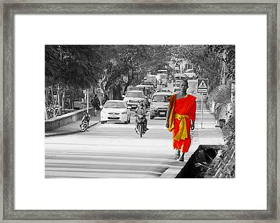 City Life In Laos Framed Print by Ryan Scholl