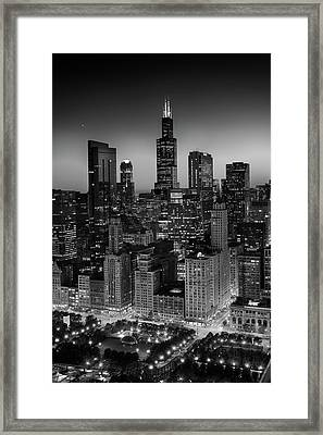 City Light Chicago B W Framed Print by Steve Gadomski