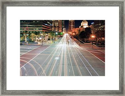 City Light Trails On Street In Downtown Framed Print by Eric Lo