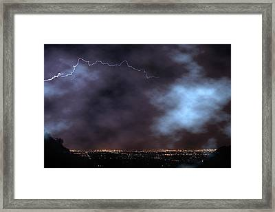 Framed Print featuring the photograph City Lights Night Strike by James BO Insogna