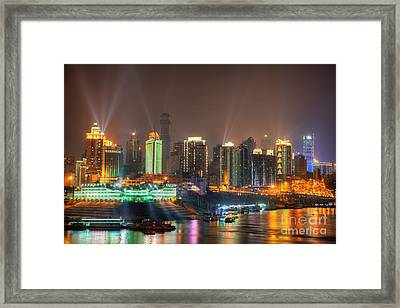 City Lights Of Chongqing Skyline Framed Print by Fototrav Print