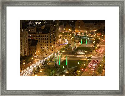 City Lit Up At Dusk, Atlantic Avenue Framed Print by Panoramic Images