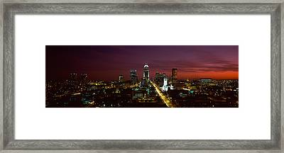City Lit Up At Night, Indianapolis Framed Print