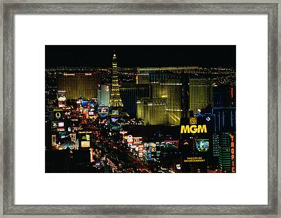 City Lit Up At Night, The Strip, Las Framed Print