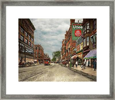 City - Lowell Ma - A Dam Good Company 1908 Framed Print by Mike Savad